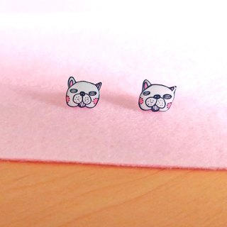Animal series - White Bulldog - Hand Drawn - earrings