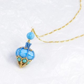 Blue perfume bottle shape necklace, beaded bottle pendant, turquoise, 1503