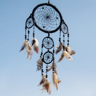 Valentine's Day gift Mother's Day gift graduation gift birthday gift limited hand-woven cotton Original Dream Catcher Charm / Boho wool dream catcher / feather dream catcher - pure wool knitting fashion black (five laps a group)