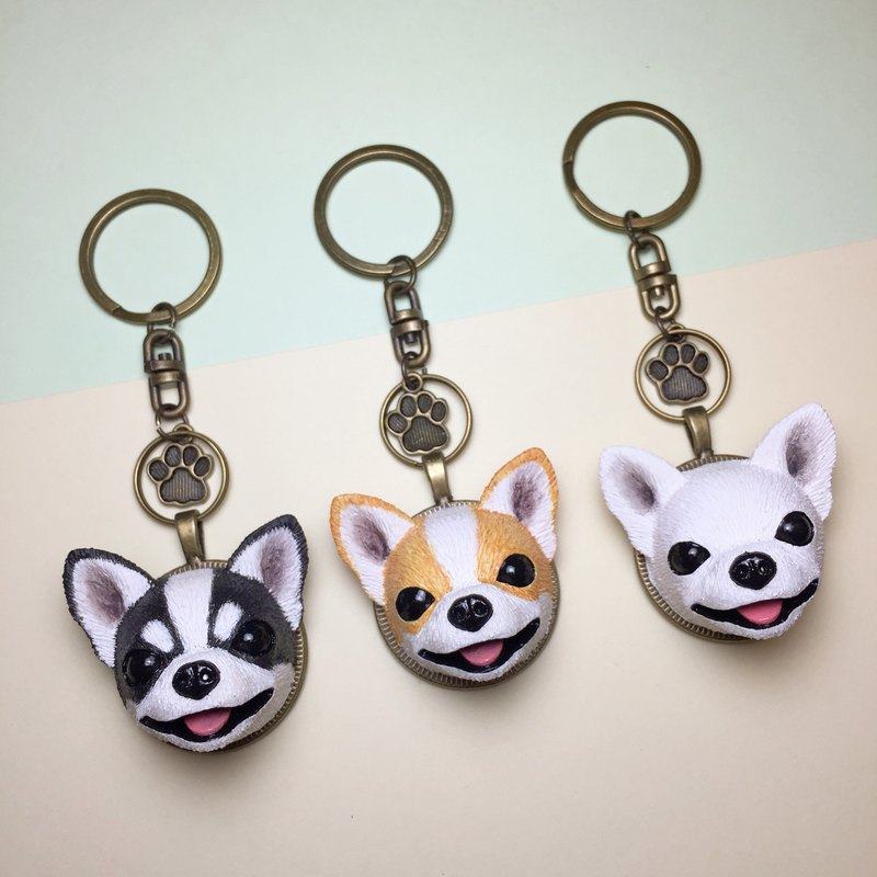 Q Version Of The Chihuahua Key Ring On The Back Of The Dog Head Free