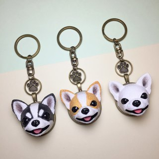 Q version of the Chihuahua key ring on the back of the dog head free printing / provide Chinese / English / number