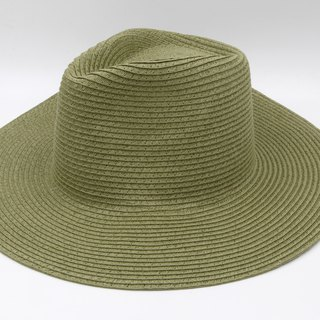 [Paper cloth home] big hat gentleman hat (military green) paper line weaving