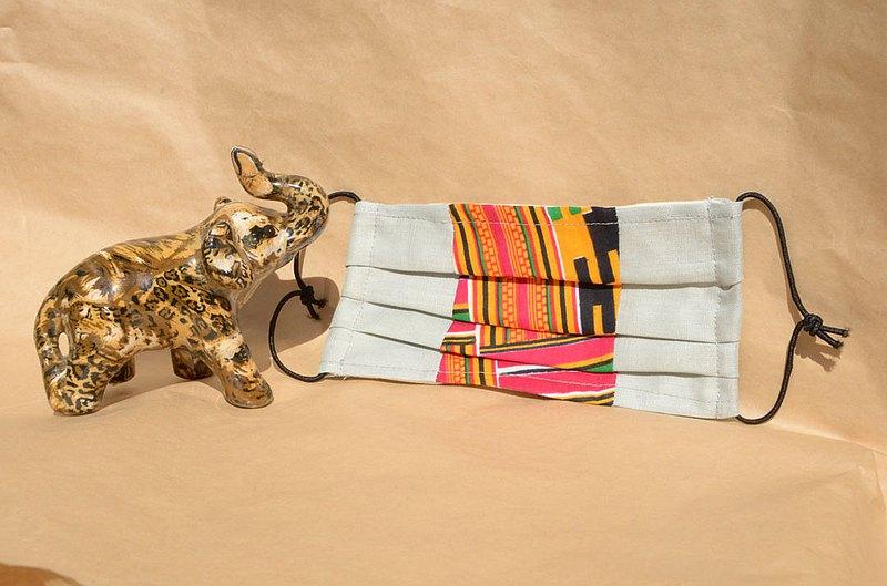 非洲花布口罩套-迦納肯特(雙拼灰底)