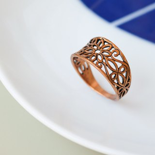 Vintage Openwork Carved Ring - Rose Copper Pure Copper Jewelry