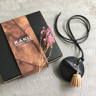 KAKU leather design gogoro key holster custom small tassel charm black