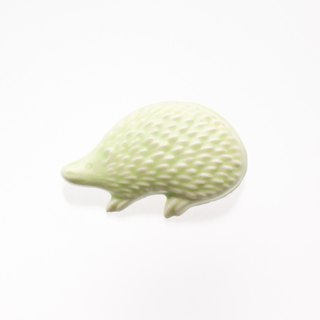 ceramics brooch hedgehog light green