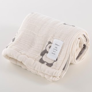 [Japan made today's crepe] six heavy yarn towel - black and white panda