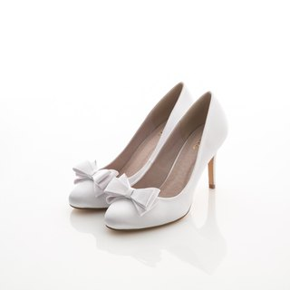 [APRIL] white satin wedding shoes, wedding, bridal white, non-waterproof heels