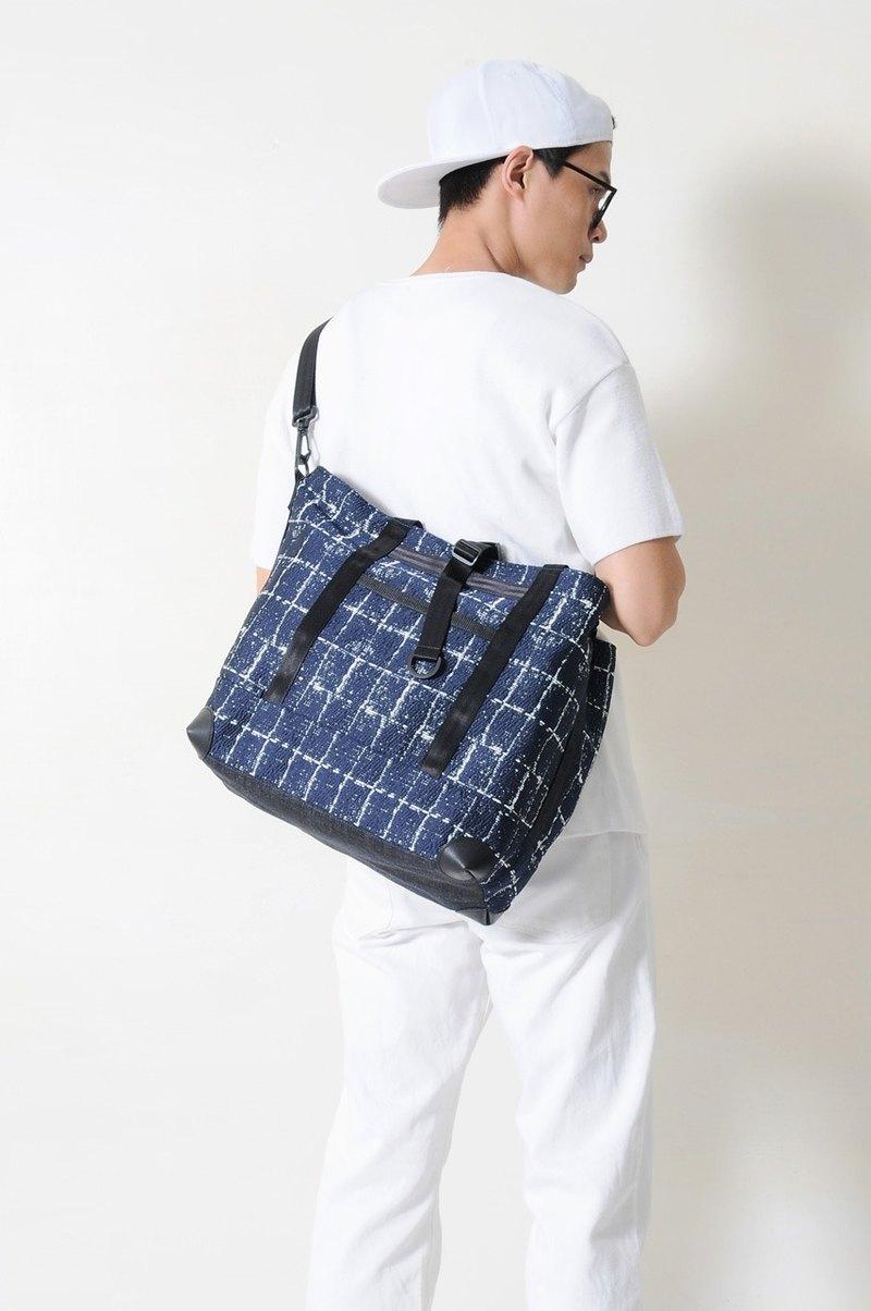 夏季旅行 SAPPHIRE-手做皮革格紋棉布手提/斜側揹/筆電包