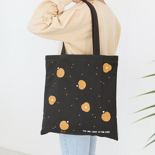 Flower flowers cotton Eco bag 04. Black charcoal