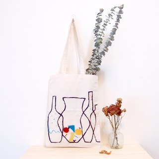 Mondrian geometric bottle wool blanket illustration embroidery canvas bag (can be loaded A4, can be customized side strap)