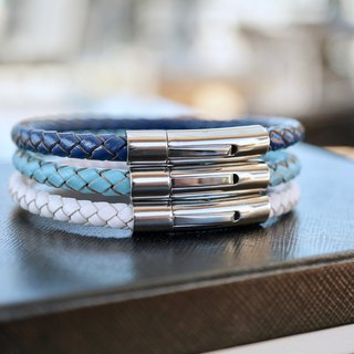 ITS-969 [Leather series, dominates] 5mm titanium steel braided leather cord bracelet