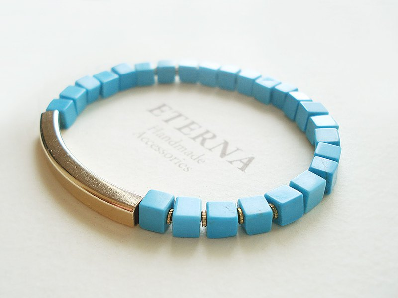 Stabilized turquoise and curved pipe bracelet