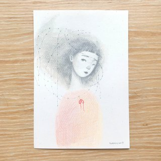 Orange-red thorn girl | hand drawn illustration postcard