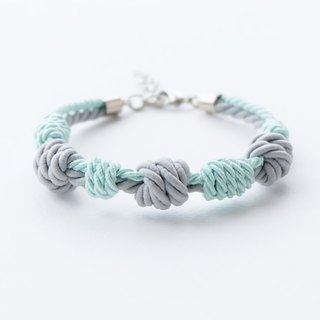 Matte ash gray / Light mint knot rope bracelet