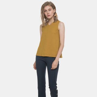 Reversible V Neck Paneled Top (Mustard)