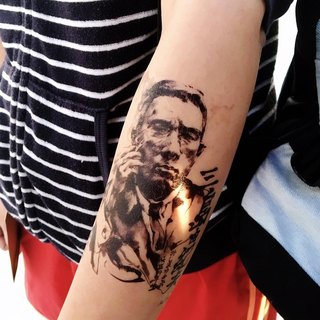 LAZY DUO Temporary Tattoo Sticker Ink wash Portrait Yukio Mishima Wai Man Tsang
