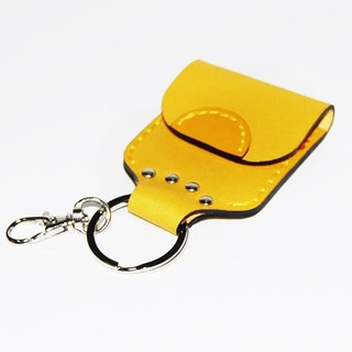 Yellow leather coin purse key ring