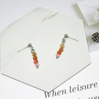 Stainless steel X natural stone needle earrings <color heart>