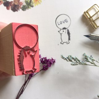 Zoe's forest small hedgehog round dialog rubber stamp