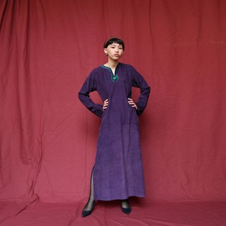 Pumpkin Vintage. Ancient purple corduroy ethnic style embroidered dress