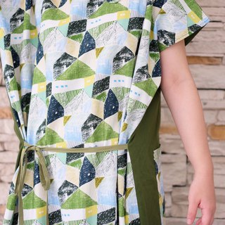 Japanese-style square green huts long version double-faced handmade custom-made shirt