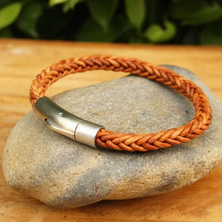 Bracelet - Exquisite Braided Bracelet (6 mm.) - หนังแท้ สีแทน / Leather Bracelet