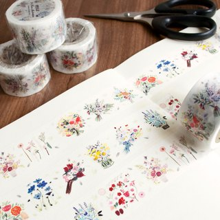 Flower illustration-masking tape (2.5cm (w))