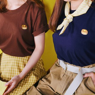 Brown / American Muffin Embroidered Short Sleeve T-Shirt