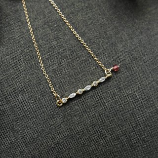 [Christmas gifts series MSI zircon 14K gold necklace / garnet red