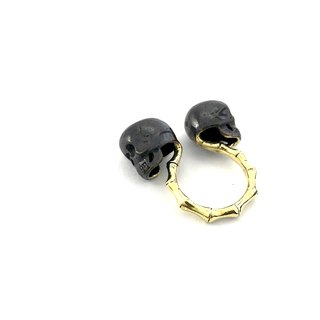 Zodiac Twins skull ring is for Gemini in Brass and oxidized antique color ,Rocker jewelry ,Skull jewelry,Biker jewelry