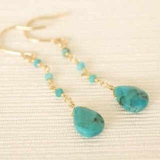 14KGF Turquoise Drop Earrings