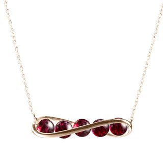 Garnet Necklace in Gold Bar Horizontal Design, 14k Yellow Gold Garnet Necklace