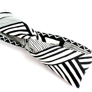 Black White Geometric Pattern Cotton Headband