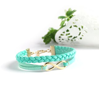 Handmade Double Braided Infinity Bracelets Rose Gold Series–mint green