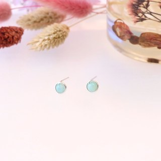 . Hand made earrings. Amazonite Tianhe stone ear clip / ear pin light green