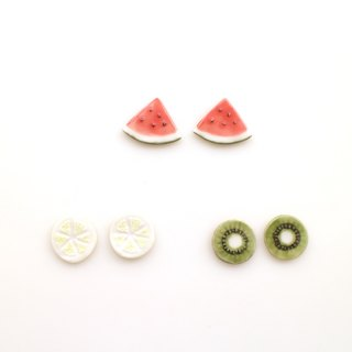 Cut fruit earrings