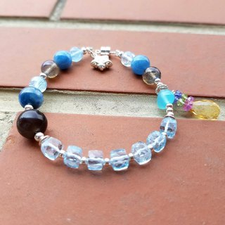 Girl Crystal World [clear color plate - Silver] - Topaz bracelet bracelet natural crystal gem hand made magnetic buckle