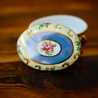 British mini porcelain jewelry box yellow oval E