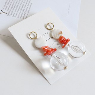 [Coral # 1 coral earrings] silver ear pin / clip-made