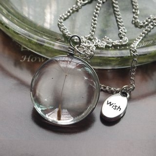 Round dandelion seeds resin necklace silver chain, Wish pressed flower pendant