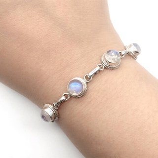Moonstone sterling silver round simple striped bracelet Nepal handmade mosaic production