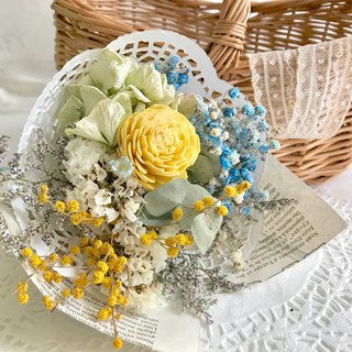 Masako Green Hydrangea Acacia Dried Bouquet Birthday Gift Dating Gift