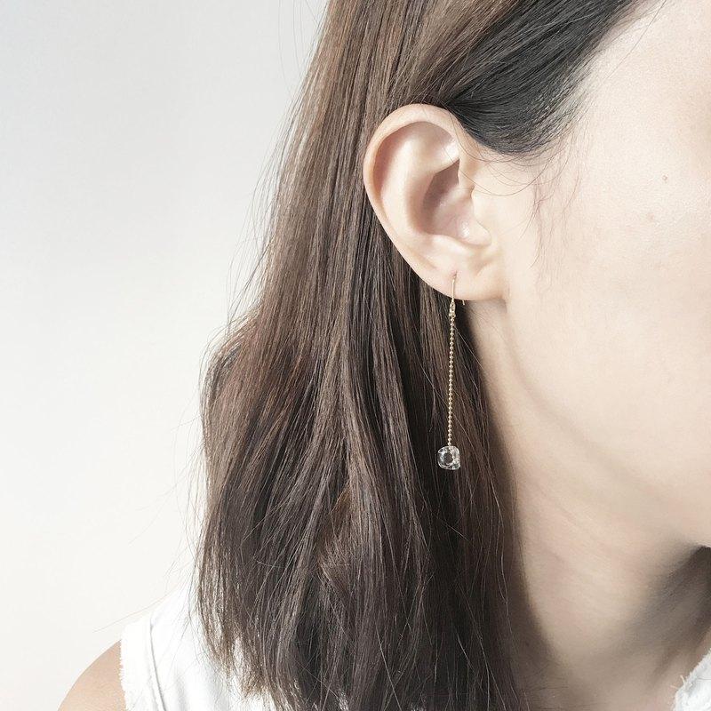 簡約透明泡泡玻璃珠小雨點耳環
