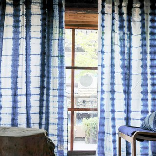 Bamboo shadow hand-dyed blue dyed cotton curtain curtain original design natural grass dyed finished curtains