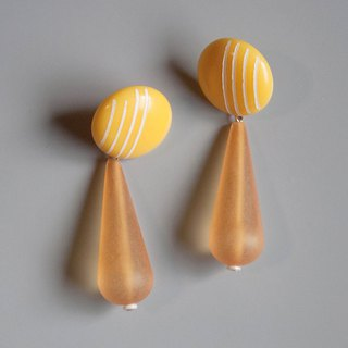 Space Age - Yellow and White Striped Drop Earrings