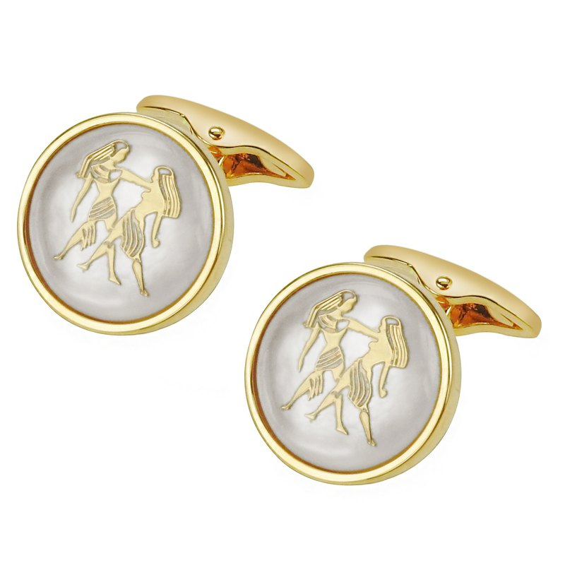 White Mother of Pearl Gemini Gold Cufflinks