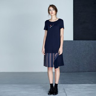 AEVEA hem stitching stripe dress
