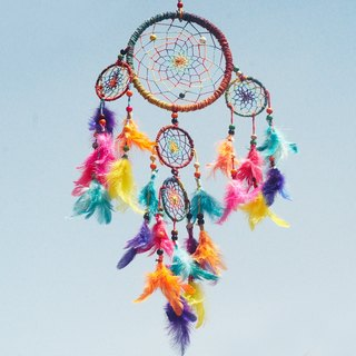Valentine's Day gifts Christmas gifts hand-woven cotton Rainbow Dream Catcher Charm - Colorful section color (a group of five laps)