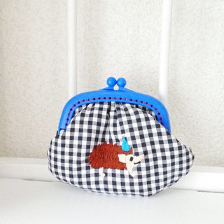 Embroidery wagamachita gingham check hedgehog blue hat